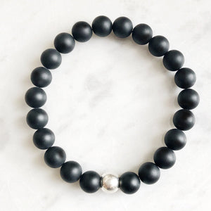 Smooth Matte 8mm Onyx & Sterling Silver Ball Bracelet - good charma