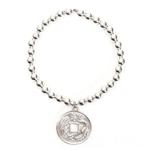 Asian Coin Medium Ball Bracelet - good charma