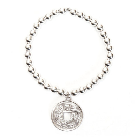 Asian Coin Medium Ball Bracelet