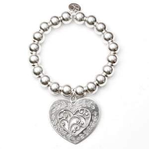 Filigree Heart Super Ball Bracelet - Good Charma