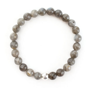 Labradorite Bracelet with Sterling Silver Ball - good charma