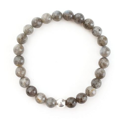 Men's 8mm Faceted Labradorite Bracelet with Sterling Silver Ball