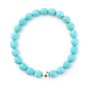 Turquoise Bracelet with Sterling Silver Ball - good charma