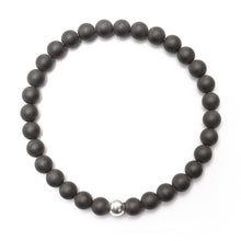 Load image into Gallery viewer, Matte Hematite Bracelet with Sterling Silver Ball - good charma