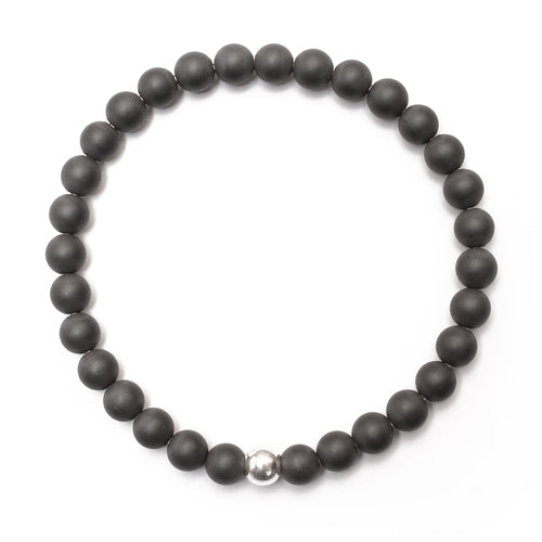 Matte Hematite Bracelet with Sterling Silver Ball - good charma