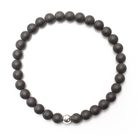 Good Charma Man Charma Matte 6mm Hematite Bracelet with Sterling Silver Ball