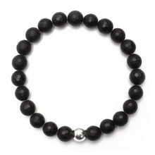 Load image into Gallery viewer, Matte 8mm Onyx Bracelet with Sterling Silver Ball - good charma