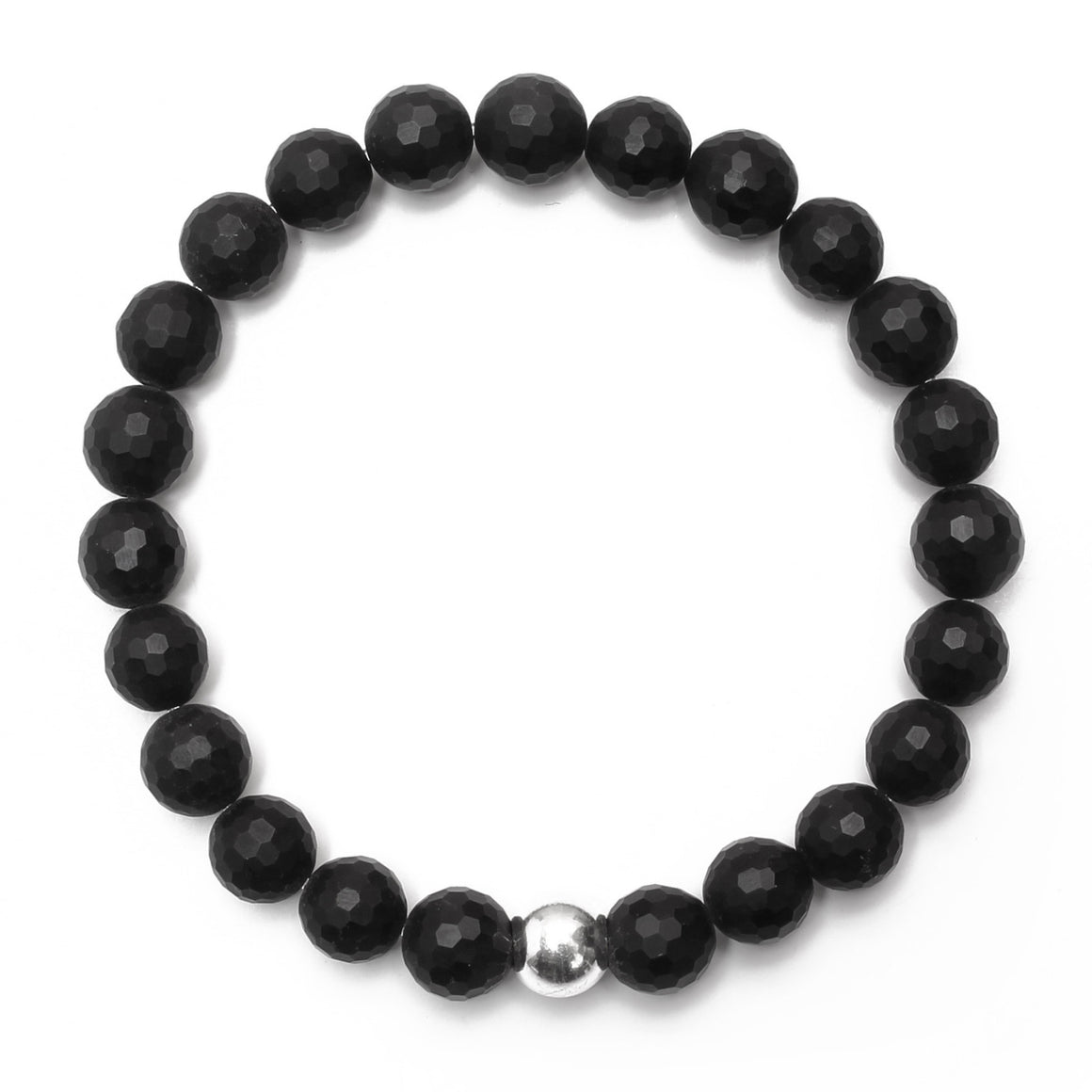 Matte 8mm Onyx Bracelet with Sterling Silver Ball - good charma