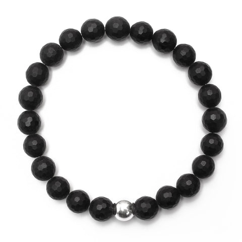 Matte 8mm Onyx Bracelet with Sterling Silver Ball