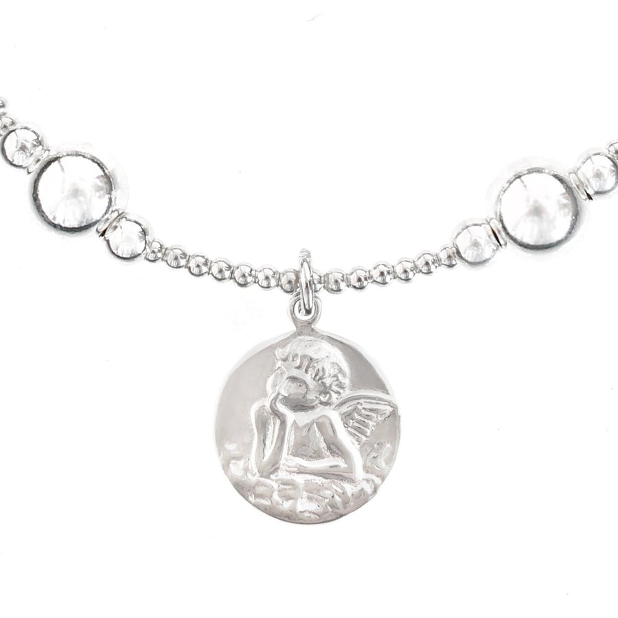 """Angel"" Coin Bali Ball Bracelet in Silver"
