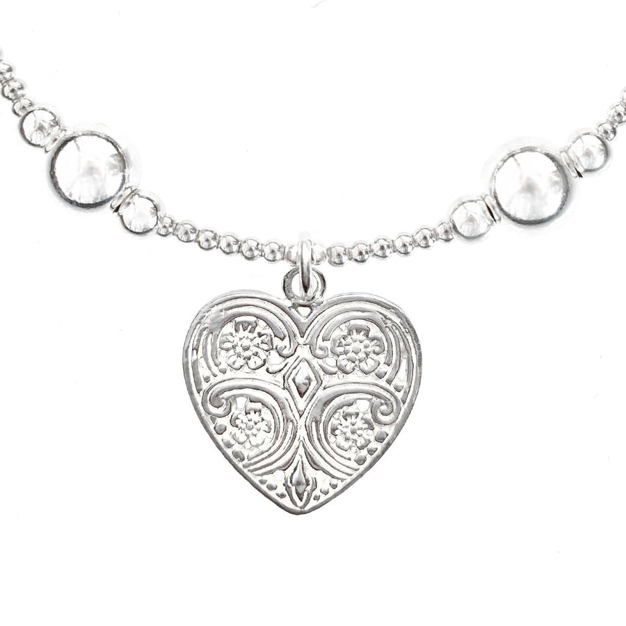 Good Charma Sterling Silver Heart Bali Ball Charm Bracelet