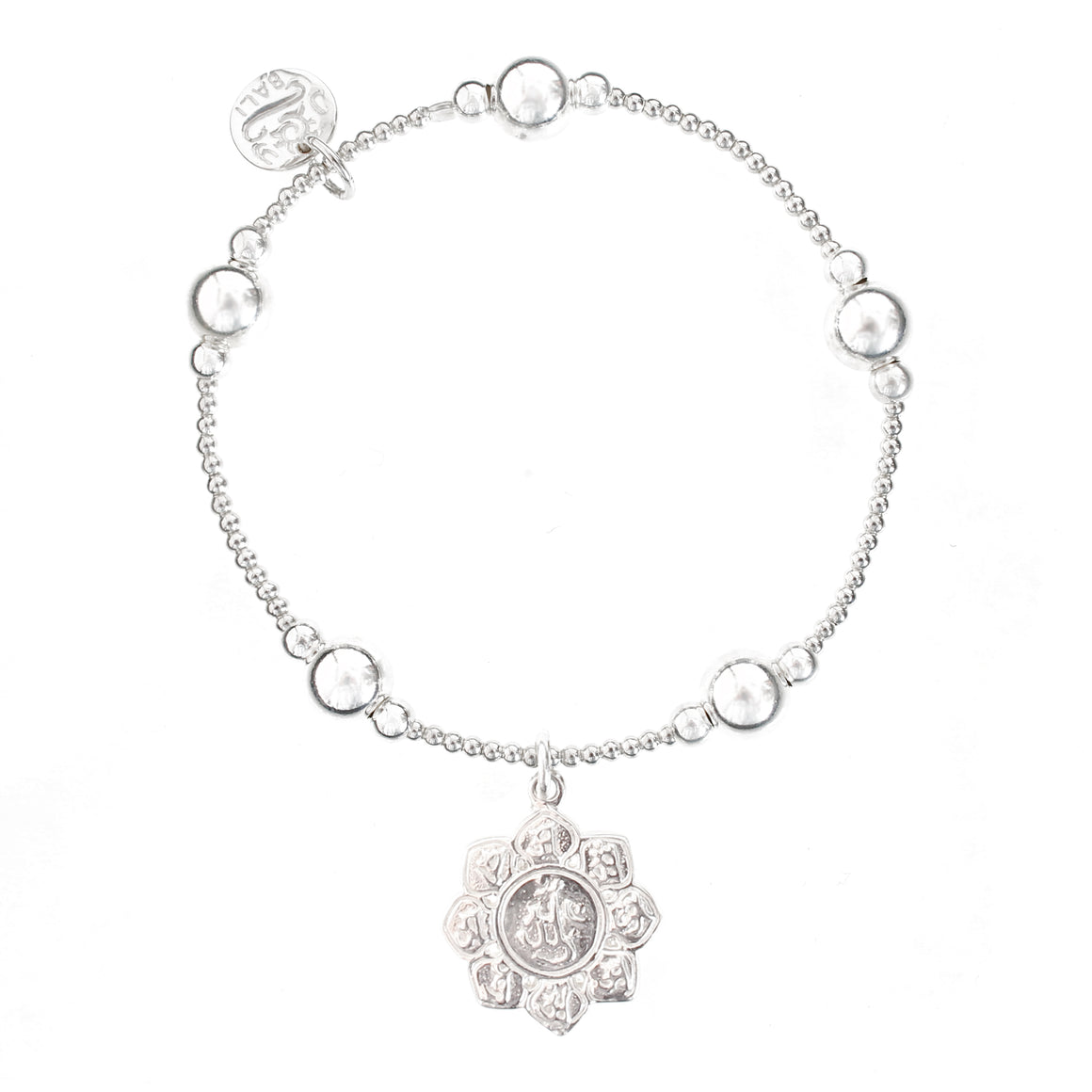 Lotus Flower Bali Ball Bracelet - good charma
