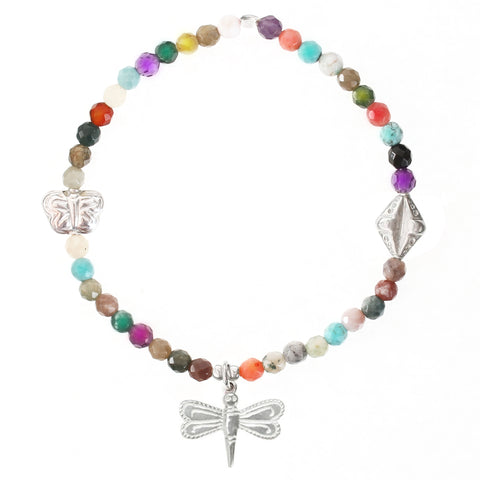 Multi Gemstone & Dragonfly Bracelet