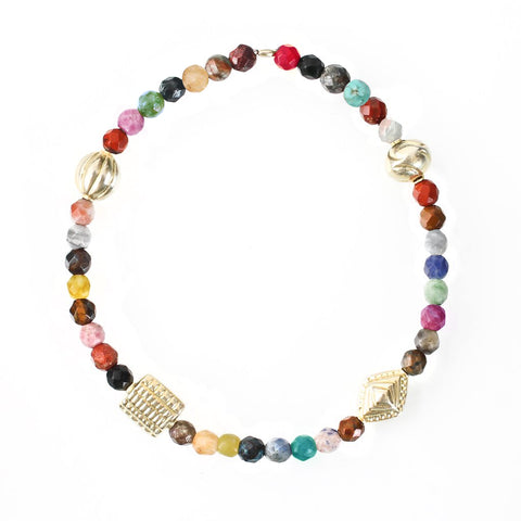 Multi Gemstone & Gold Beads Balance Bracelet