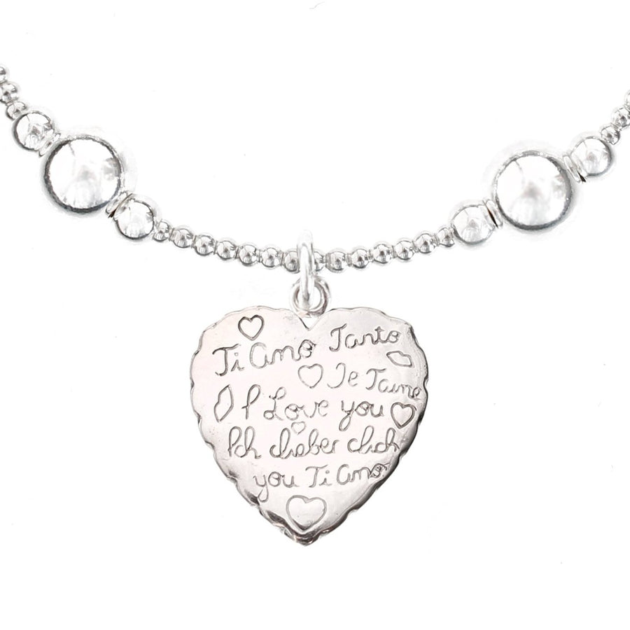 Universal Love Heart Charm Bali Ball Bracelet in Sterling Silver