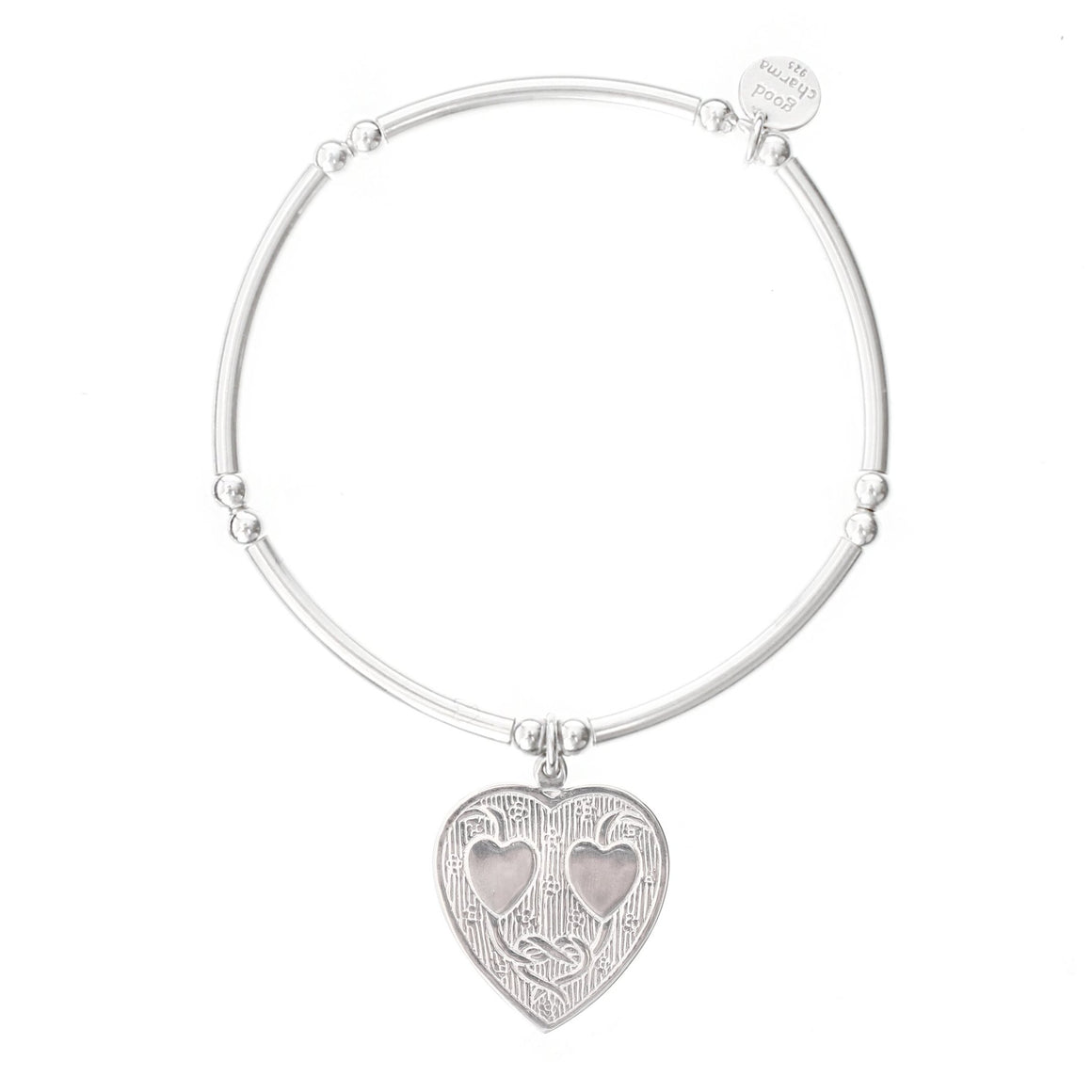 Double Heart Bangle Bracelet - good charma