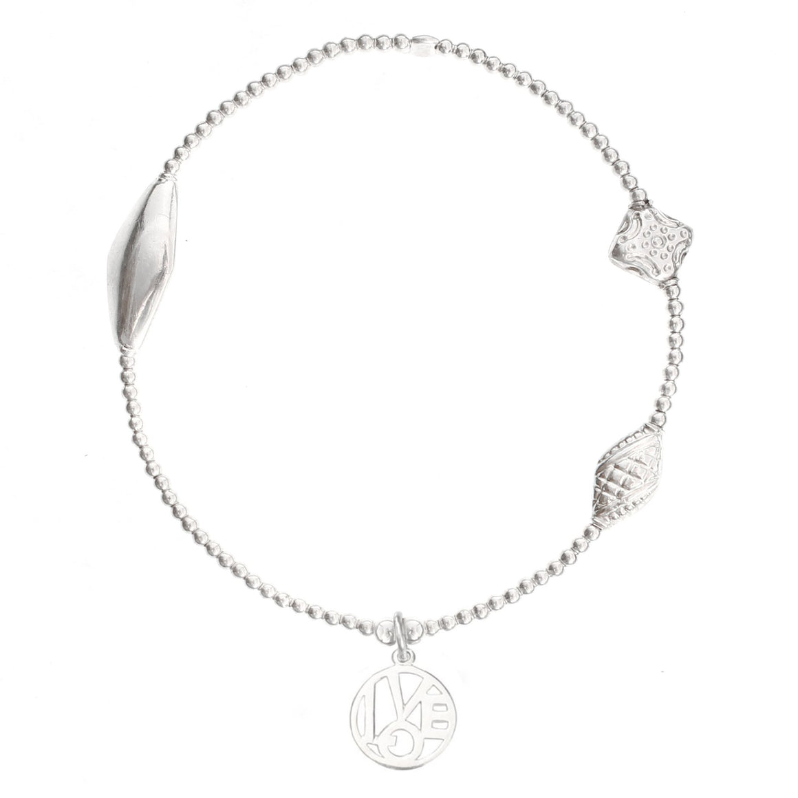 """Love"" Medallion Bracelet in Sterling Silver"