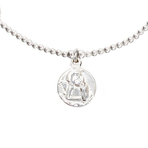 "Angel Coin ""HEALING"" Charm in Sterling Silver"