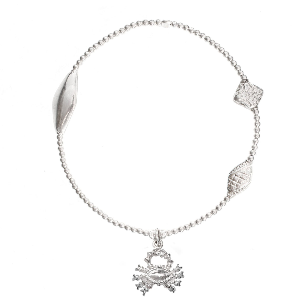 Crab Charm Bracelet in Sterling Silver