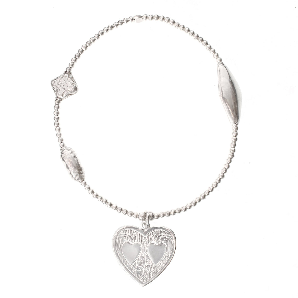 Double Heart Silver Bracelet - good charma