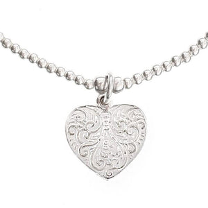 Feather Heart Silver Bracelet - good charma