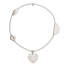 Load image into Gallery viewer, Feather Heart Charm in Sterling Silver