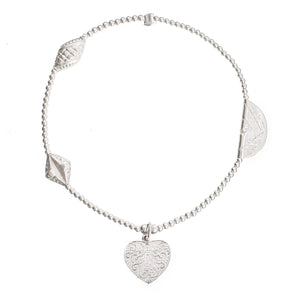 Feather Heart Charm in Sterling Silver
