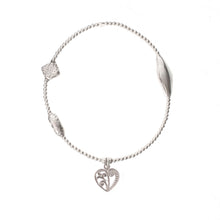 Load image into Gallery viewer, Flora Heart Charm in Sterling Silver