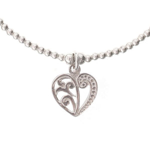 Flora Heart Charm in Sterling Silver