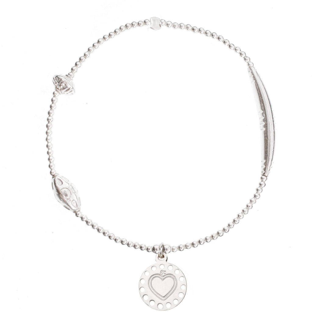 Heart Medallion Silver Bracelet - good charma