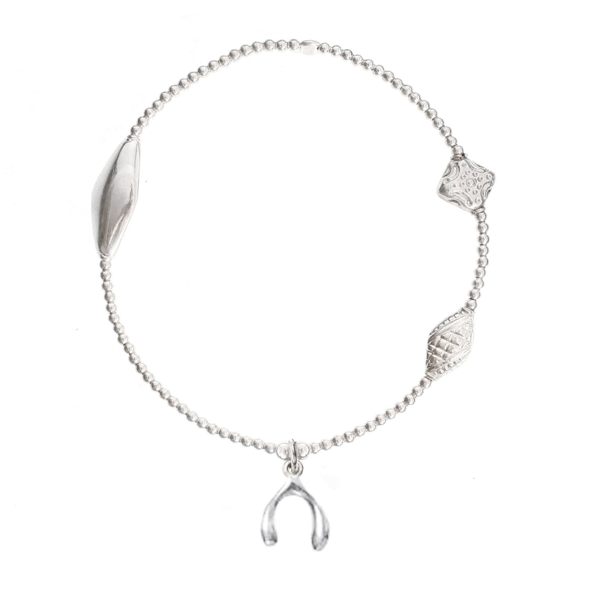 "Wishbone ""GOOD FORTUNE"" Bracelet Silver"