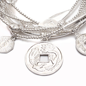 "Asian Lucky Coins ""PROSPERITY"" 6-Bracelet Stack"