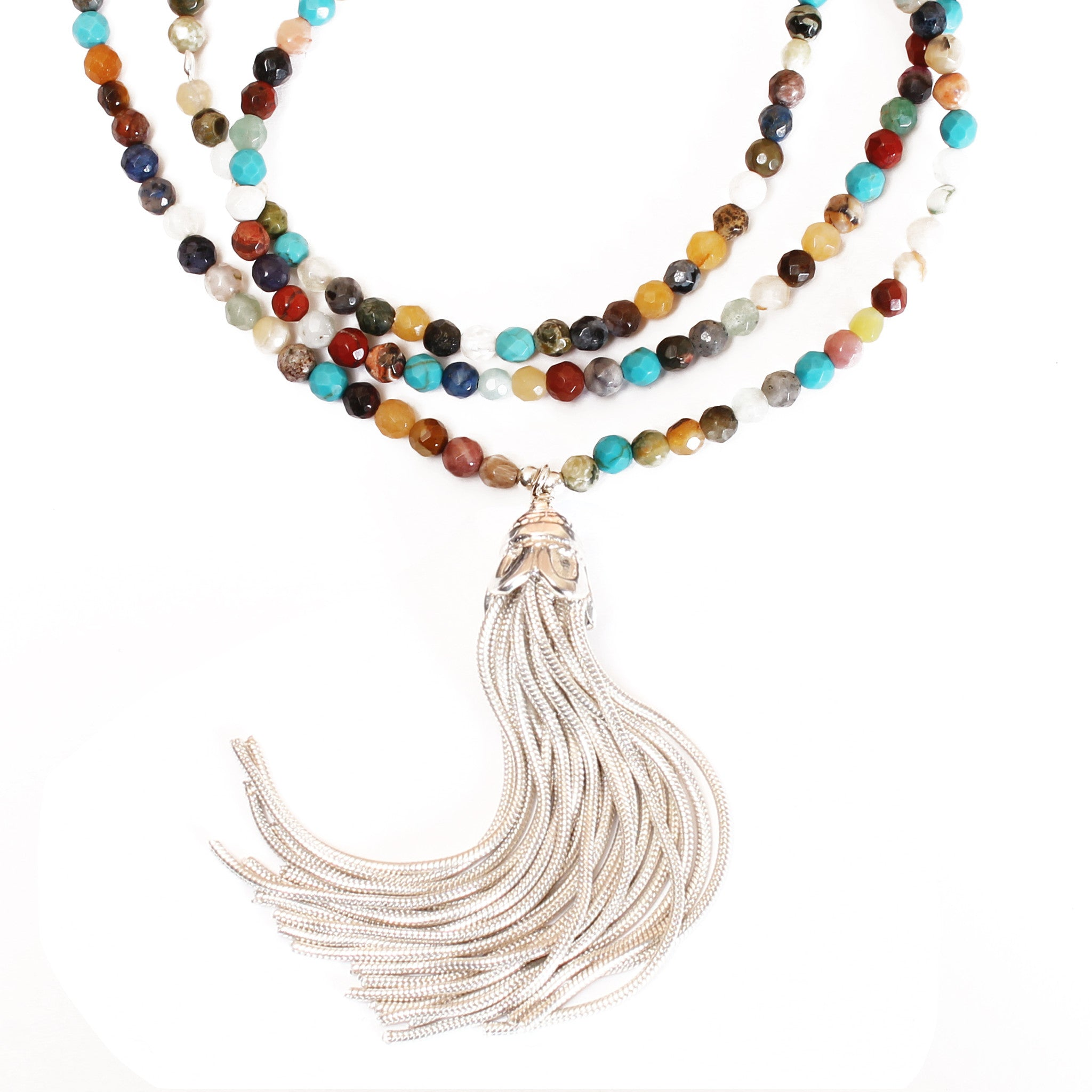 multi layered product gemstone depanthera necklace