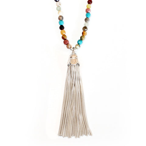 Tassel & Multi Gemstone Necklace