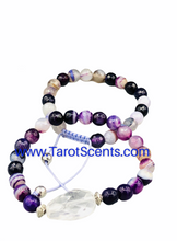 Load image into Gallery viewer, agate purple wrist mala with crystal spacer