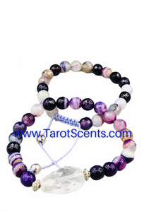 agate purple wrist mala with crystal spacer
