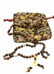 Tigers Eye Full Buddhist Prayer Mala + Brocade Bag