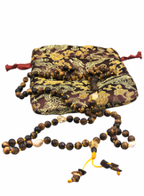 Load image into Gallery viewer, Tigers Eye Full Buddhist Prayer Mala + Brocade Bag