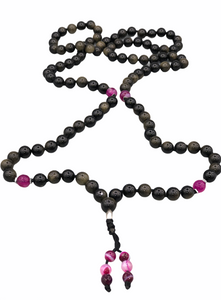 Obsidian & Gold Full Buddhist Prayer Mala + Brocade Bag
