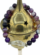 Load image into Gallery viewer, purple wrist mala crystal spacer