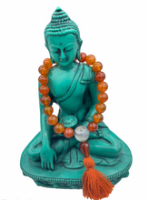 Load image into Gallery viewer, Carnelian Wrist Mala with Tassel + Brocade Bag