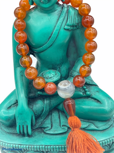 Carnelian Wrist Mala with Tassel + Brocade Bag