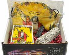 Load image into Gallery viewer, Tarot Starter Gift Box (Sage+Satin Bag+Crystal)