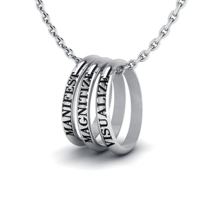 Manifest, Magantize, Visulize Power Word Collection Silver Ring Set
