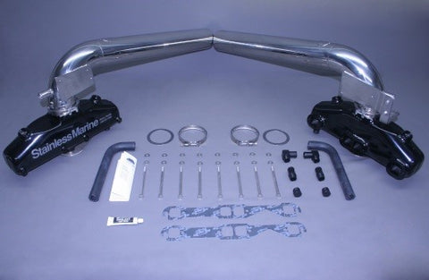 SB Exhaust Manifolds W/Thru Transom S/S Risers & Brackets BTF Kit