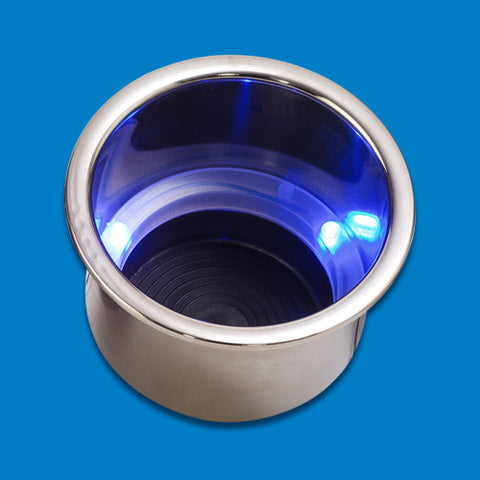 CUP HOLDERS STAINLESS STEEL BLUE LED LIGHT