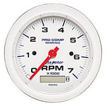 AutoMeter White Pro-Comp Tachometer 7000rpm with Hourmeter