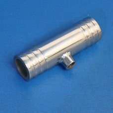 "Fitting - STAINLESS STEEL TEE FITTING 1 1/4"" HOSE X 1 1/4"" HOSE WITH 1/8"" NPT BUNG"