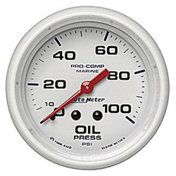 AutoMeter White Pro-Comp Marine Oil Pressure 100 lb electric