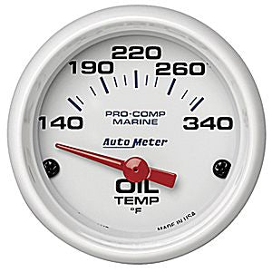 AutoMeter White Pro-Comp Marine Oil Temp 100-340¼ electric